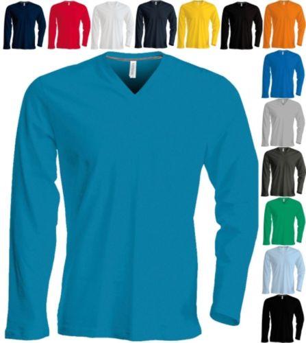 KARIBAN Herren Langarm T-Shirt V-Ausschnitt Männer Long -S M L XL XXL 3XL 4XL(2)