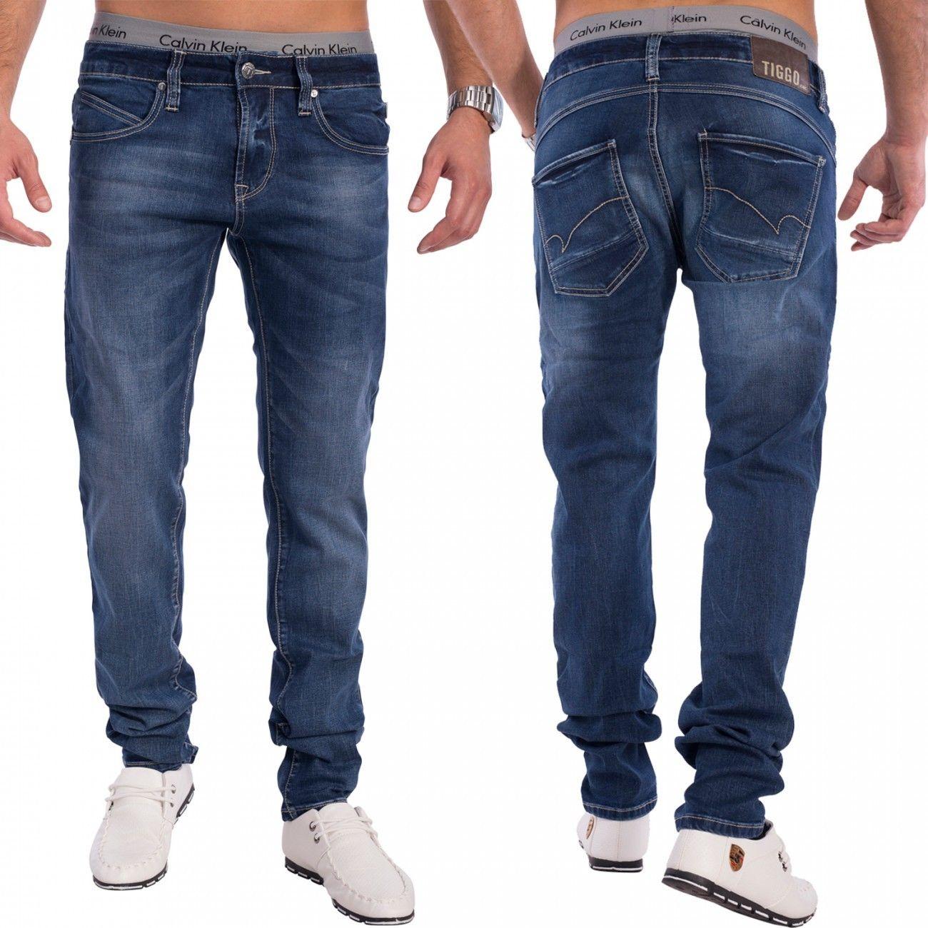 Herren Slim Tapered Fit Jeans Denim dunkelblau Jeanshose Hose stretch