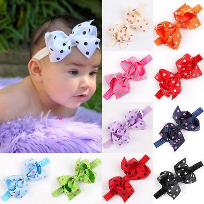 Baby Mädchen Kleinkind Polka Punkt HaarBand Bogen Hairband Stirnband Kopfband