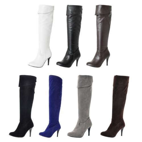 Damen Mit Hohen Absätzen Overknee Stiefel Damenstiefel Lederoptik Kniehoch Boots