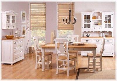 Esstisch Tisch 120x70 cm Kiefer massiv weiß honig Landhausstil Tische NEU