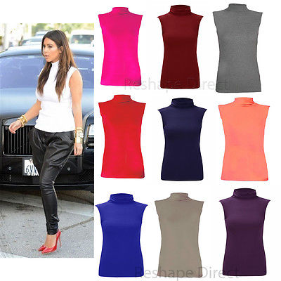 Ladies Sleeveless Stretch Polo Jersey Top Womens Plain Turtle Neck top 8-26