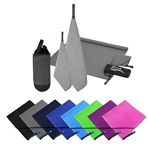 2er Set Reisehandtuch grau Mikrofaser Handtuch 70x140 cm + 30x50cm Sport-Handtuch saugfähig Badehandtuch (Grau)