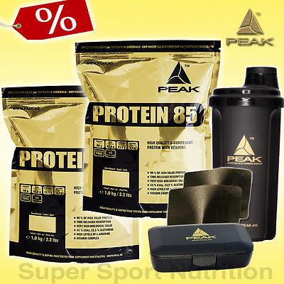 (14,90€/kg) PEAK Protein 85 - 2x 1000g Beutel Mehrkomponenten Eiweiß + BONUS