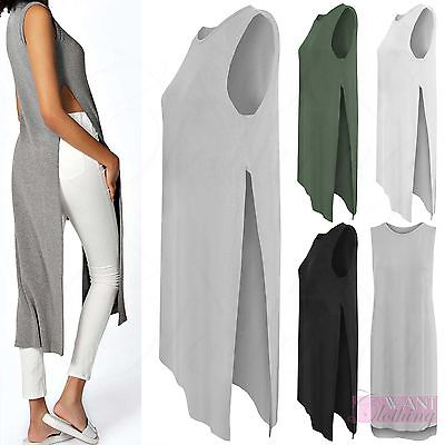 NEW WOMENS SIDE SPLIT LONG TUNIC LOOK TOP LADIES ROUND NECK SLEEVELESS DRESSES