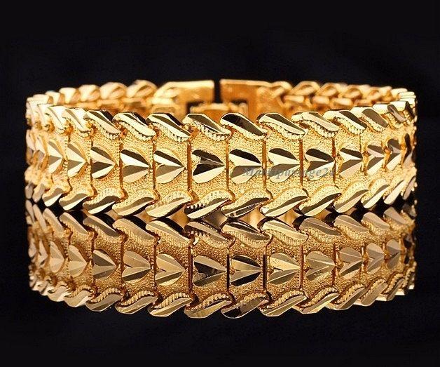 Luxus Armband Echt Gelbgold vergoldet 17 mm Breit Herz Geschenk Damen Orient 20
