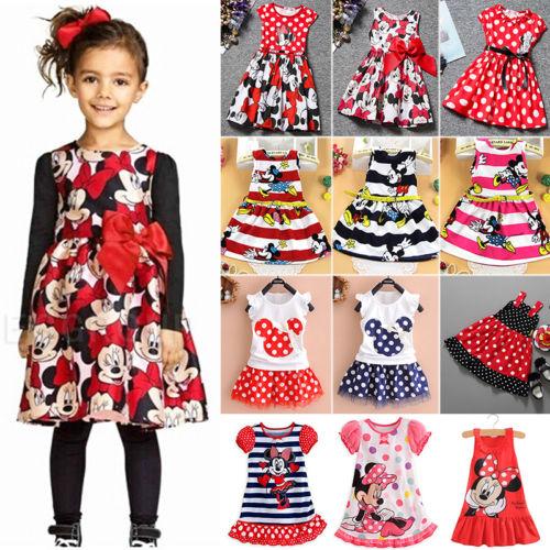 Mädchen Kinder Baby Minilkleid Sommer Abendkleid  Faltenkleid Rock Party Kleid