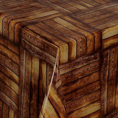 Tischdecke aus Wachstuch abwaschbar Länge wählbar Brown Wood Holzoptik (168-00)