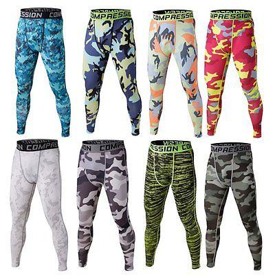 Mens Camo Printed Sport Compression Leggings Base Layer Slim Long Pants Trousers