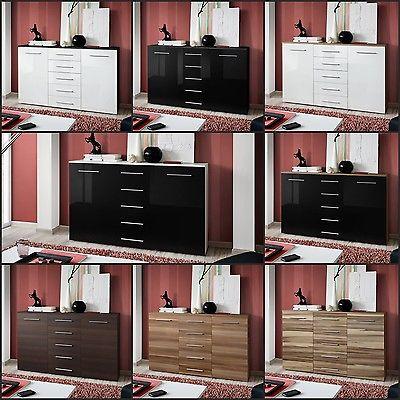 SB Sideboard Kommode Schrank Anrichte Commode Highboard FOX HOCHGLANZ TOP NEU