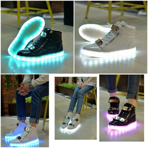 Herren Frauen LED Leuchtende Schuhe Farbwechsel High Top Sneaker Lovers Geschenk
