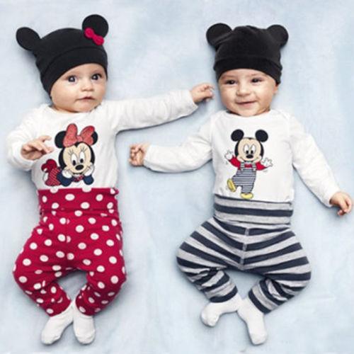 3-tlg. Kinder Baby Jungen Mädchen Mickey Minnie Strampler Hose Hut Outfits Sets