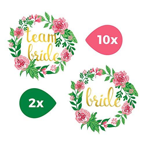 TATTOOCREW® Gold Tattoo Flower Team Bride Blumen Set Junggesellinnenabschied Temporäre Tattoos Team Braut, 12er Set