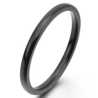 Breit 2mm~10mm Edelstahl Ring Band Schwarz Hochzeit Unisex ve862