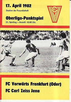 OL 81/82  Vorwärts Frankfurt/O. - FC Carl Zeiss Jena