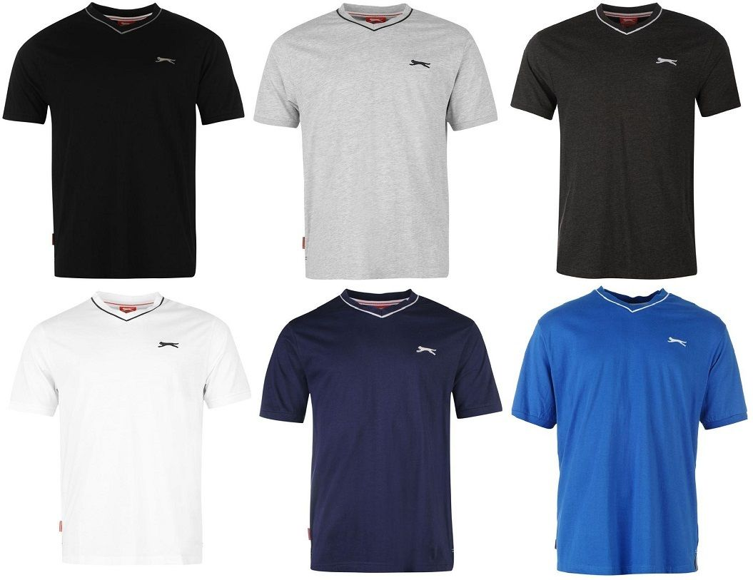 ? SLAZENGER Herren T-Shirt V Ausschnitt S M L XL XXL 3XL 4XL Schwarz Weiß Blau