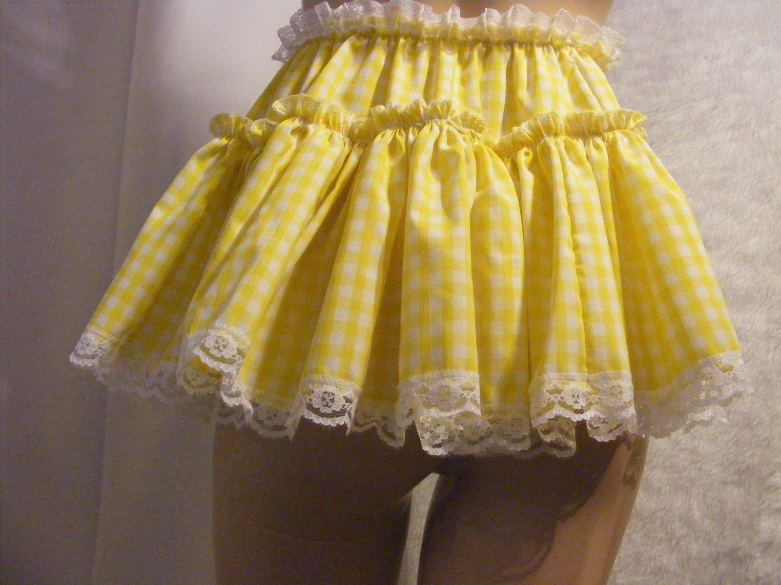 SISSY ADULT BABY SEXY FANCY DRESS YELLOW GINGHAM MICRO MINI FRILLY SKIRT 11