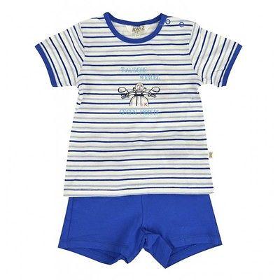 %%%Kanz® Baby Set T-Shirt und Shorts mit Spruch Ringel Blau Gr.62 68 74 NEU!%%%