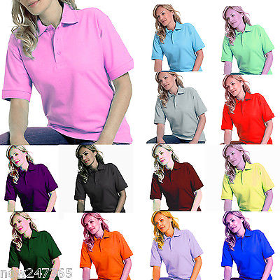 Ladies Polo Shirt Size UK 8 to 26 Plus Pique T-Shirt All Colours NEW