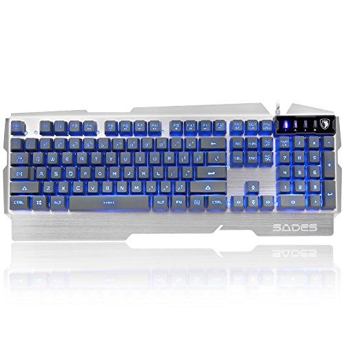 SADES k9 Gaming Tastatur Drei unterschiedliche Modi LED Beleuchtet Beleuchtung 104 Tasten Metall Basis USB Wired Plug-and-Play Keyboard Für PC/Laptop (Silber)