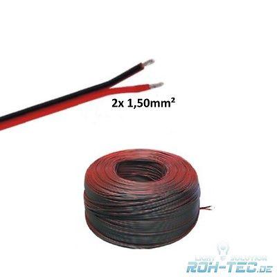 (0,59€/m)5-100m LED Leitung Zwillingslitze 2x 1,50mm² rot/schwarz Litze 2-adrig