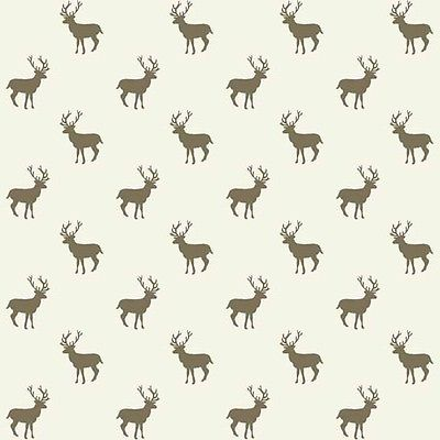 Makower Henley - Sherwood Stag - Ivory Brown - Cotton Fabric Patchwork Quilting