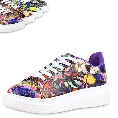 Damen Sneakers Low Bunte Prints Plateau Turnschuhe Freizeit 810675 Top