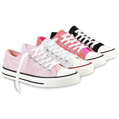 Damen Sneakers Low Glitzer Canvas Schuhe Schnürer 811056