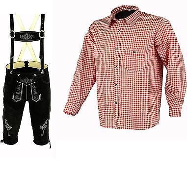 Herren Trachten Lederhose Schwarz 46-62 Trachten Set Rot Hemd Neu