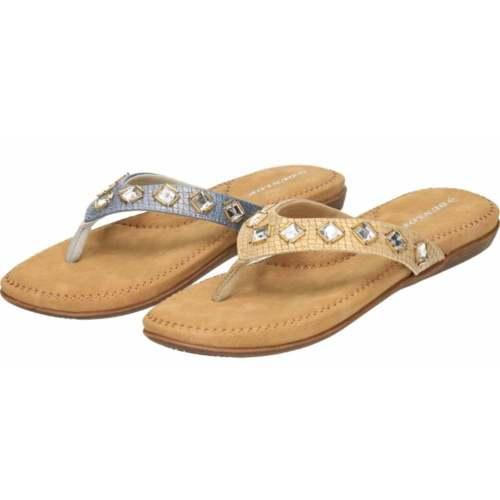 Dunlop Flip Flops Toe Post Slip On Sandals Gold Silver Blue Flat Cushioned Jewel