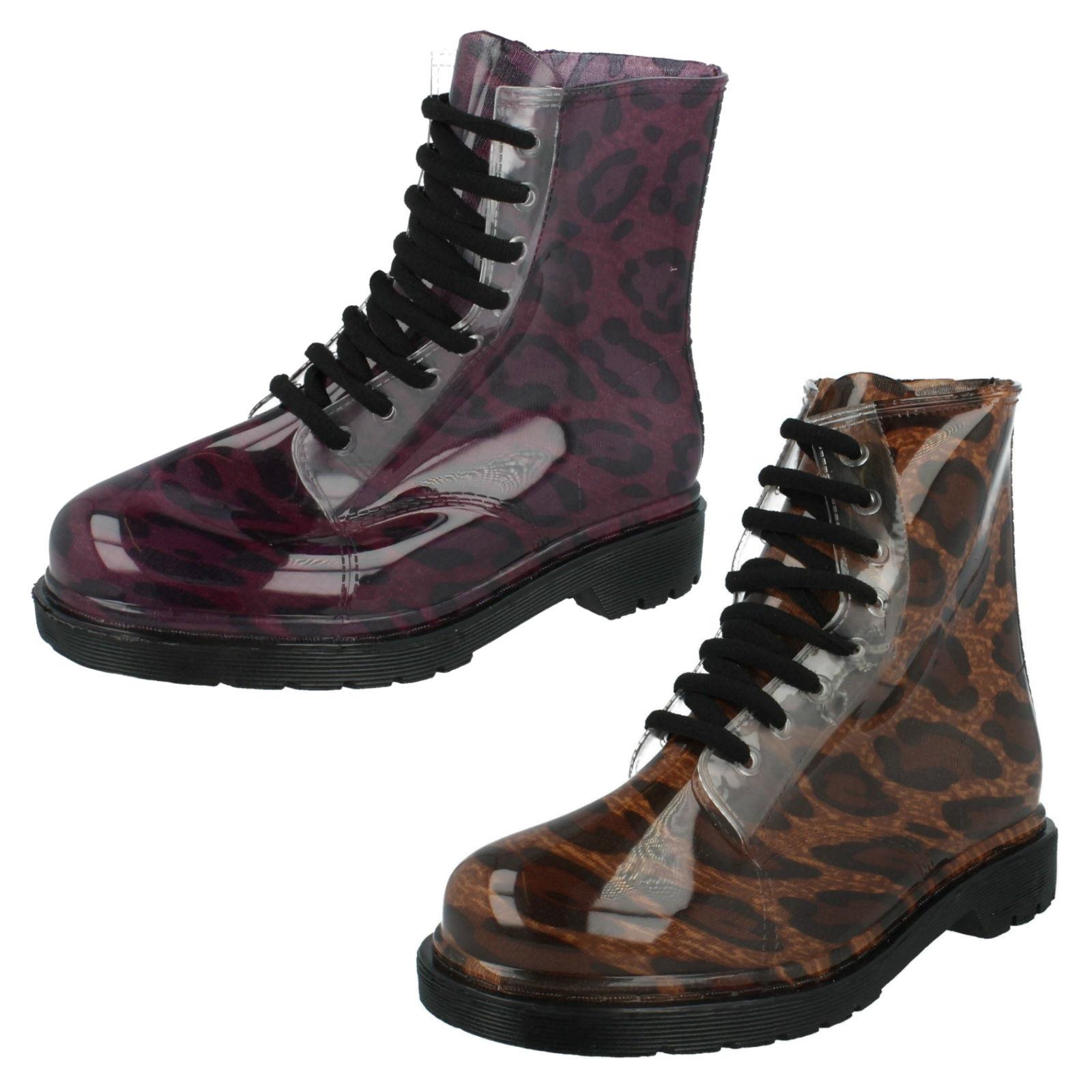 Ladies Spot On Leopard Transparent Wellies/Wellington Ankle Boots Style F50191