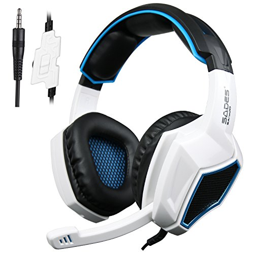 Sades Xbox One PS4 Gaming Headset über Ohr Gaming Kopfhörer mit Mikrofon für Mac / PC / Laptop / Xbox 360 - Schwarz / Weiß