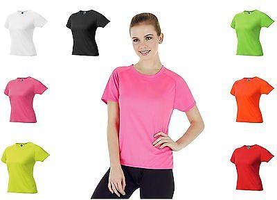 Damen Funktionsshirt Laufshirt Atmungsaktiv Sportshirt Neonfarben Frauen S M L