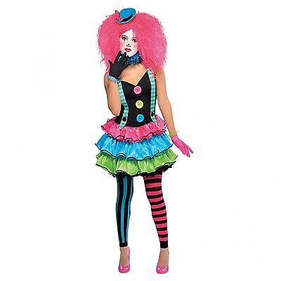 Petite Damen Cool Neon Clown Circus Kostüm Party Halloween Hofnarr Kostüm