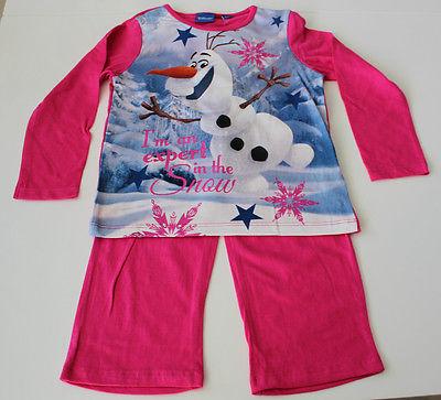 NEU Pyjama Set Schlafanzug Mädchen Disney Frozen pink Größe 104 110 116 128 #60