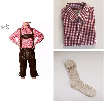 4-tlg. Kinder Trachtenset: Lederhose+ Trachtenhemd Rot+ Trachtensocken Gr.86-176