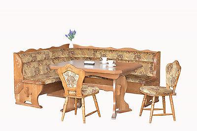 Eiche Holz Eckbank 203x163 Eckbankgruppe mit Küchentisch 130-210x90 + 2 Stühlen