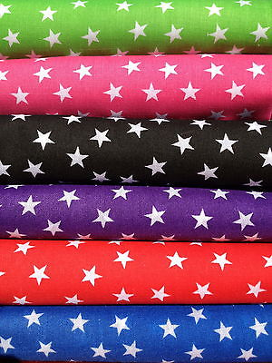 Mini Stars POLYCOTTON FABRIC Cerise Blue Red Purple Black Lime LOWEST PRICE
