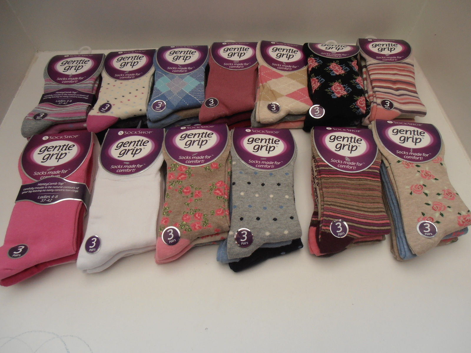 ladies socks diabetic non elastic gentle grip soft top sock 3 pairs size 4-7