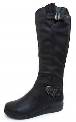 Ladies Spot On Black Knee High Boots with Buckle Strap F50330