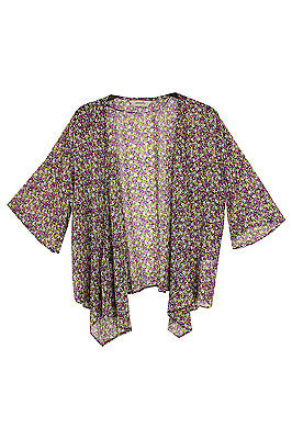 New Ladies Purple Black Ditsy Floral Print Kimono Cape Plus Sizes 16 - 30