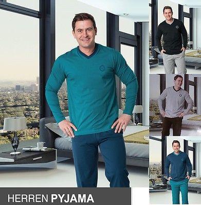 Herren Pyjama Schlafanzug lang Nachtwäsche Schlaf Anzug M L XL XXL *141752