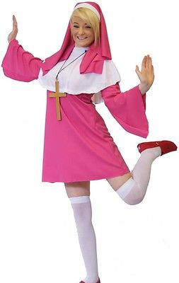 HEN NIGHT Short & sexy CERISE PINK NUN Fancy Dress from size 6-24 Fab and Cross