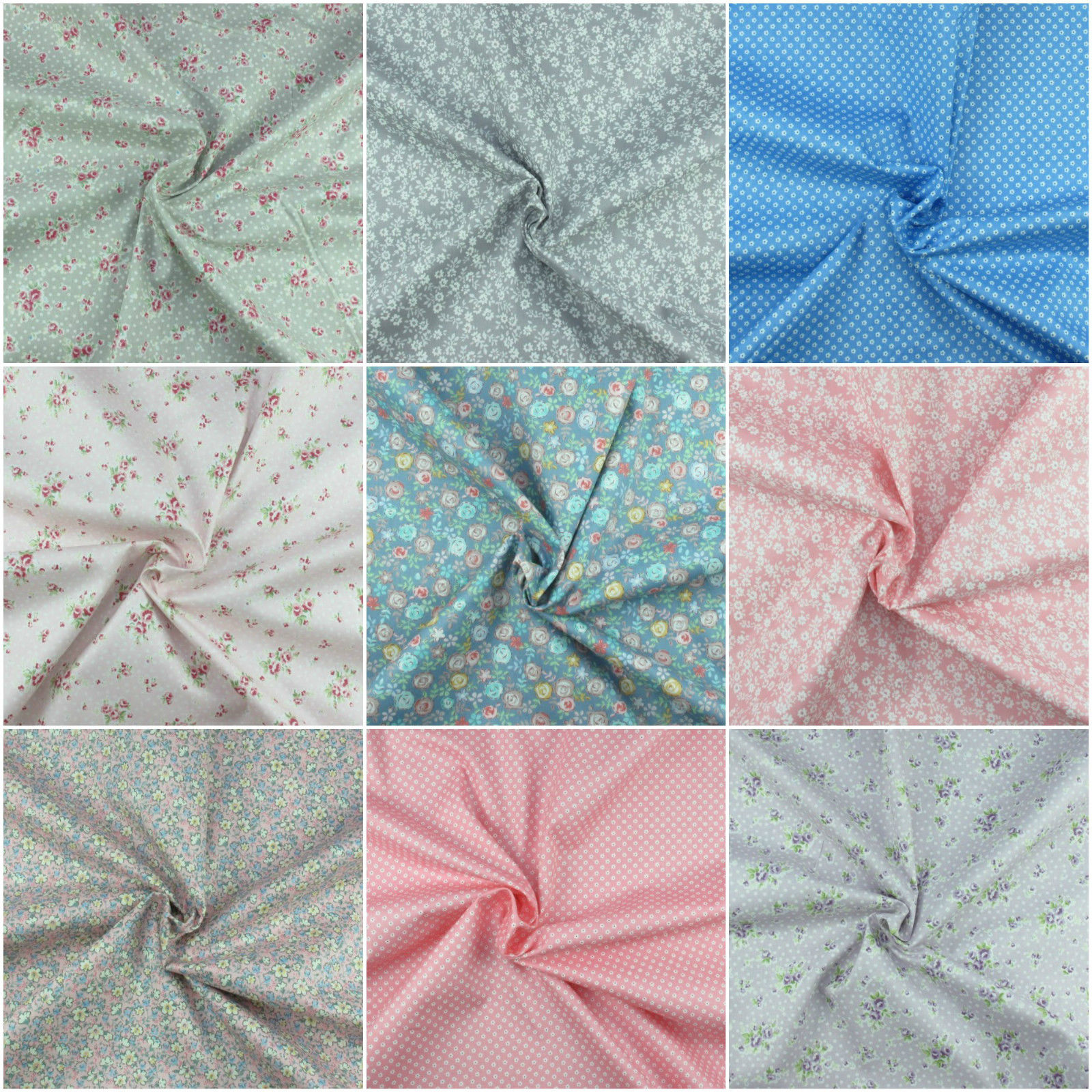 100% Cotton Fabric, Floral Prints, Extra Wide, Metre, 1/2 Metre Or Fat Quarter