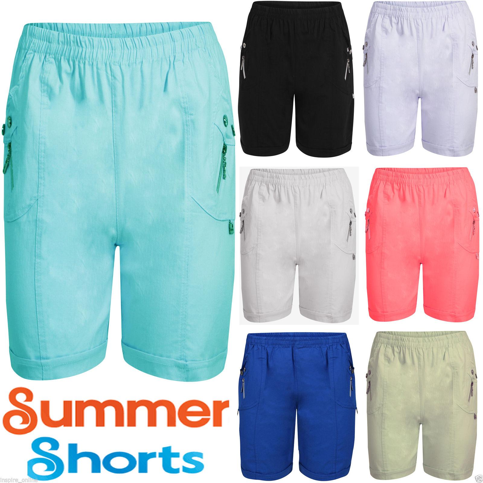NEW LADIES WOMENS STRETCHY GIRLS ELASTICATED WAIST SUMMER BEACH SHORTS HOT PANTS