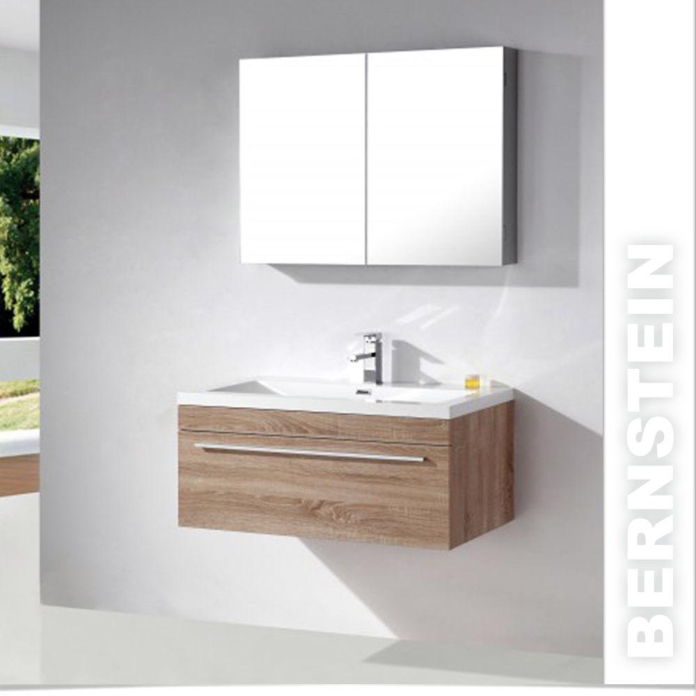 Badmöbel Set weiß /eiche geweisst Waschtisch Waschbeckenunterschrank Waschbecken