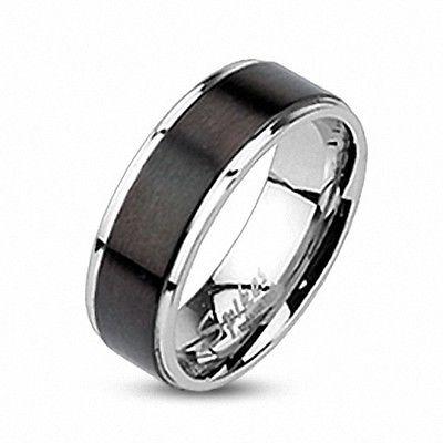 Edelstahl Herren Damen Band Ring Silber Farben Inlay Center Schwarz gebürstet