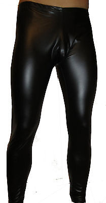 MENS BLACK WET LOOK RUBBER LOOK ROCK HORROR MEGGINGS PANTS SKINS POUCH S -  XXXL