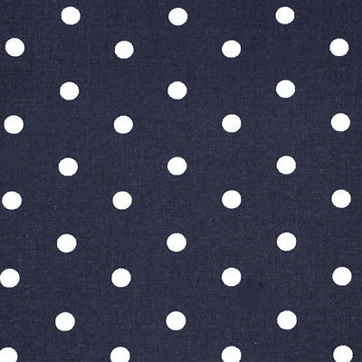 Navy - Mono Pea Dot - Cotton Fabric Modern French Geometrics Patchwork 160cm wid