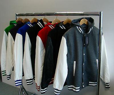 Mens Hooded Varsity, Letterman, Baseball Jacket, Faux Leather, Private Member